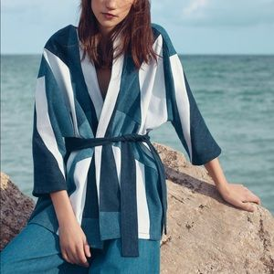 Maje Women's Blue Vadom Patchwork Denim Kimono